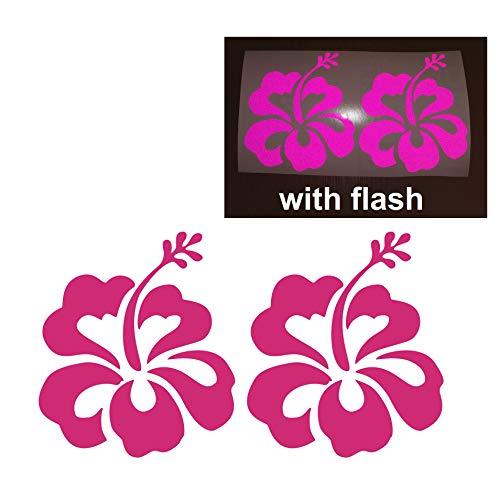"2x Hibiscus Flower Floral Hawaiian Hawaii Blooming Fresh 5"" x 5.75"" Sweet Islands Reflective Reflector Decal Sticker Flash Night Vinyl PVC For Sport Motorbike Bike Motorcycle Bicycle Helmet Racing Car Door Window Tailgate Truck Trunk Side Rear Laptop Notebook Mac Decal Safety"