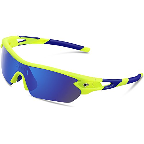 Torege Polarized Sports Sunglasses With 5 Interchangeable Lenes for Men Women Cycling Running Driving Fishing Golf Baseball Glasses TR002 (Fluorescent&Blue&Blue - Polarized Cool Sunglasses