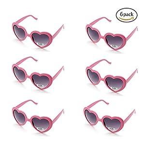 6 Neon Colors Heart Shape Party Favors Sunglasses, Multi Packs (6-Pack Pink)