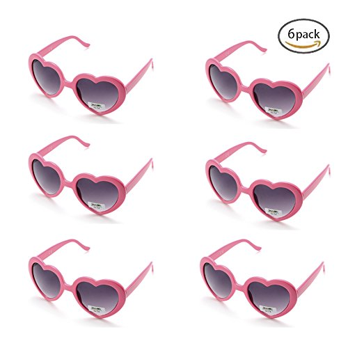 6 Neon Colors Heart Shape Party Favors Sunglasses, Multi Packs (6-Pack Pink)