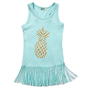 309e1f8d8f23f Amazon.com  VaThaStore Cute Pineapple Print Children Princess Dresses Baby  Girls Lovely Sleeveless Tassels Summer Dress Kids Girl Cotton Clothes  Baby