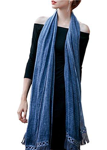 Women's Solid Color Elegant Cotton Long Scarf Shawl Tassel Lightweight Soft Wrap (navy)