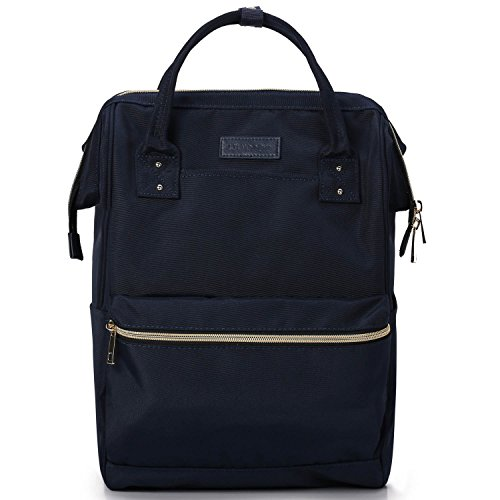 - Lily & Drew Casual Travel Daypack School Backpack for Men Women and 14 Inch Laptop Computer, with Wide Doctor Style Top Opening (V4 Dark Blue Medium)