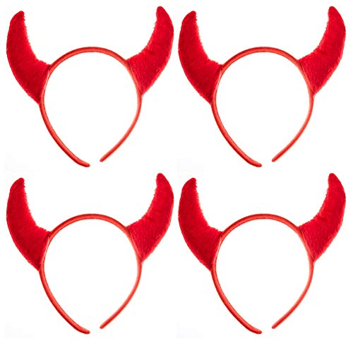 Partay Shenanigans Devil Headbands - 4 Piece Polyester Red Halloween Devil Headbands for Costume Party ()