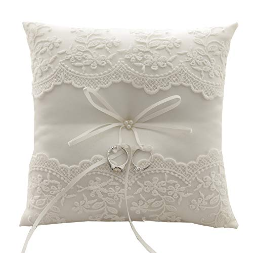 Dzty Ivory Lace Pearl Wedding Ring Pillow Cushion Bearer 8.2 Inch for Beach -