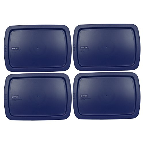 Pyrex C-233-PC Easy Grab Blue Rectangle Plastic Lid for 9 inch X 13 inch Oblong Baking Dish - (4 Pack)