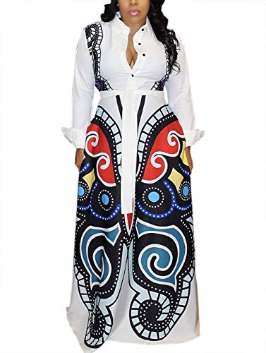 (Womens Geometric Butterfly Printed Dress Stand up A Line Flowy Long Maxi Party Dress XXX-Large)