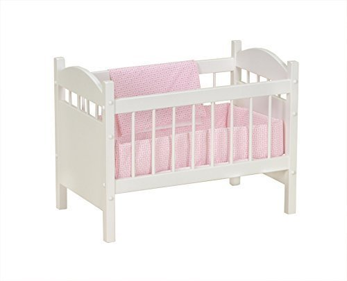 Amish-Made Wooden Deluxe Doll Crib, White Finish by AmishToyBox.com