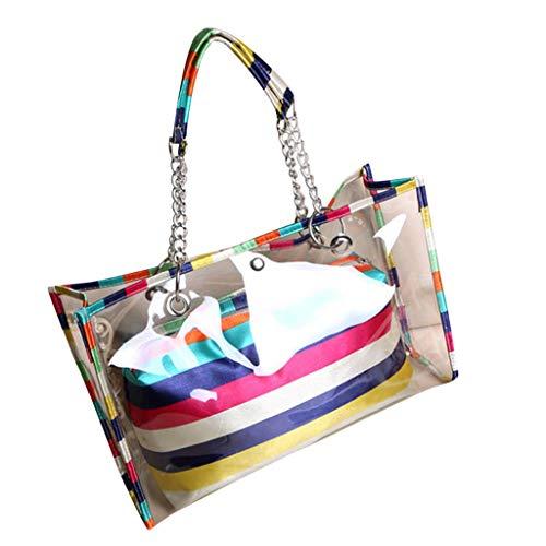 Moonite Women Clear Shoulder Bag Transparent Handle Pack Zipper Clutch Bag (American Flag, Strip, Polka Dot) (Multicolor) ()