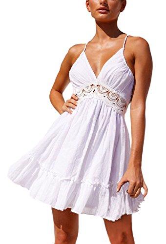 Mujer Dress Abierta Oscilación Mangas Vestidos Playa Moda Elegante Splice Hollow Casual Vestido Del Ropa Basic Espalda Verano Cuello Sin V Blanco Corto Fiesta Ropa 155qxAHwS