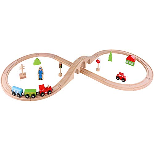 WEYFLY Rail Wooden Figure of 8 Train Set for Kids, MagneticTrains | Kids Friendly Building and Construction 30-Piece | Fun for Girls Boys