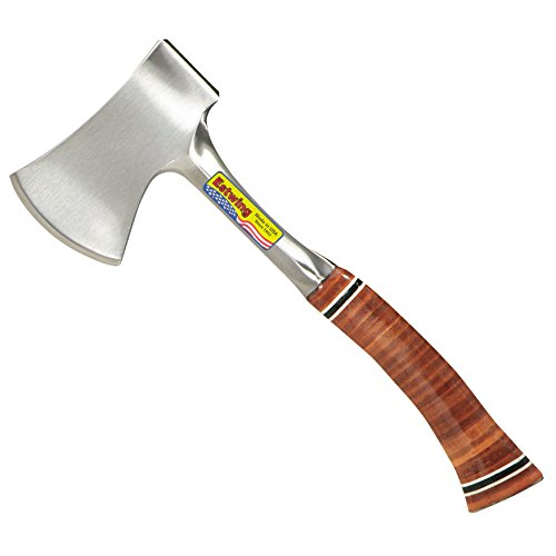 Estwing Sportsman's Axe - 14' Camping Hatchet with Forged Steel Construction & Genuine Leather Grip - E24A