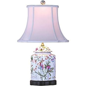 Floral Scalloped Porcelain Tea Jar Table Lamp