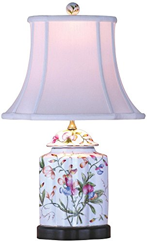 Floral Scalloped Porcelain Tea Jar Table Lamp -