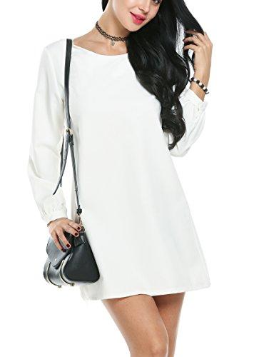 ACEVOG Women's Plain Long Sleeve Shift Dress (Small, White)