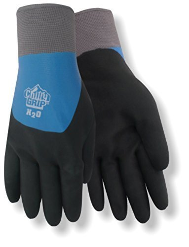 Red Steer A323-M Chilly Grip H2O Waterproof Thermal-Lined Full-Fingered Work & General Purpose Gloves, Nitrile Overdip Coating, Blue/Black, Medium [PRICE is per PAIR]