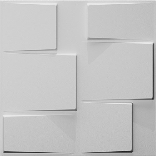 Art3d Plant Fiber Wainscot 3D Wall Panels Matt-White (Set 0f 12) 32 Sq.Ft ()