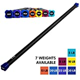 Weighted Workout Bar by Day 1 Fitness – 7 WEIGHT OPTIONS from 5-30LBS – Padded Foam, 48″-60″ Heavy-Duty, Solid Steel Exercise Bar for Physical Therapy, Aerobics, Yoga, Pilates – Premium Equipment