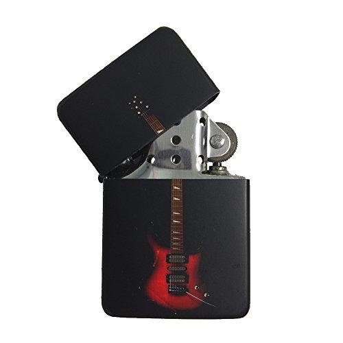 Red Electric Guitar Black Flip Top Cigarette Lighter