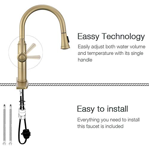 Peppermint Kitchen Sink Faucet Matte Champagne Bronze Single Handle with Pull Down Sprayer Matte Gold by Peppermint (Image #3)