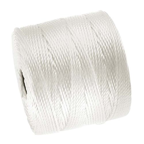 Beadsmith XCR-4248 Super-Lon Cord 18 Twisted Nylon Spool, White, 77 yd