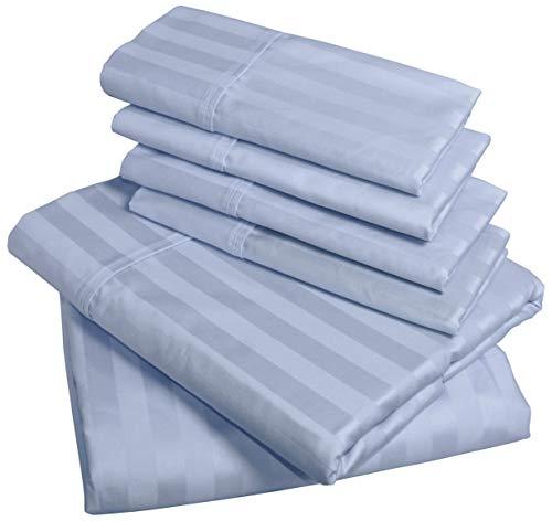 American Pillowcase Bed Sheet Set, 100% Egyptian Cotton, 540 Thread Count, 6-Piece Set, Queen, Light Blue