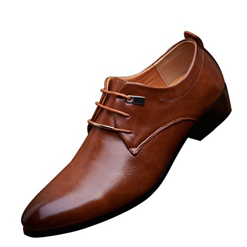 Sun Lorence Men Vintage Leather Business Formal Shoes Elegant Wedding Dress Oxfords Brown - Leather Brown Elegant Dress Shoes