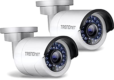 TRENDnet Indoor/Outdoor 1.3 Megapixel HD PoE IR Bullet Style Network Camera Twin Pack, Digital WDR, 720p, IP66 Rated Housing, 100ft. Night Vision, TV-IP320PI2K by TRENDnet