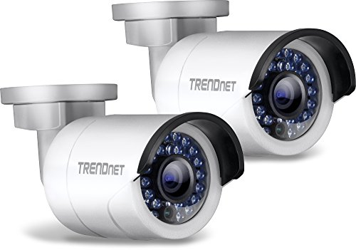 TRENDnet Indoor/Outdoor 1.3 Megapixel HD PoE IR Bullet Style Network Camera Twin Pack, Digital WDR, 720p, IP66 Rated Housing, 100ft. Night Vision, TV-IP320PI2K (Network Camera Housing)