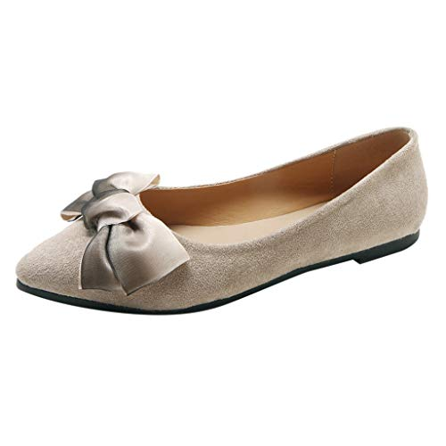 POHOK Women's Casual Pointed Toe Butterfly-Knot Shallow Slip On Flat Single Shoes Work Casual Shoes(39,Beige) ()
