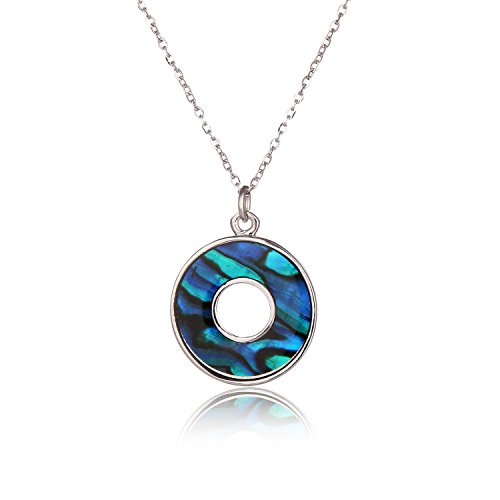Barch Blue Abalone Paua Shell Pendant Necklace Silver Jewelry Gift for Girls/Boys (Circle)