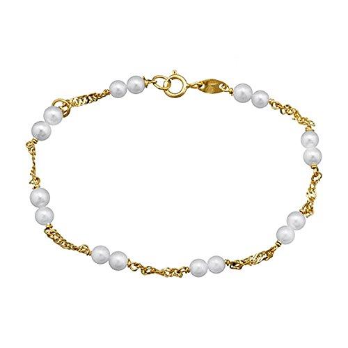 Bracelet or 18k perles de culture 16.5cm. Première Communion [AA6634]