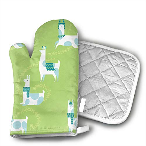 Llama Dance Pattern Green Oven Mitts Cooking Gloves Heat Resistant, for Kitchen Oven BBQ Grill and Fire Pits for Cooking Baking, by Yitlon8 (Image #4)