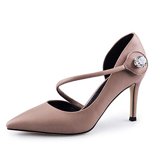 Absätzen Schuhe Herbst Dame Heels Leere Schuhe Seitliche High Schuhe Mode Super Dünnen Spitze Nude ZZqr5wP
