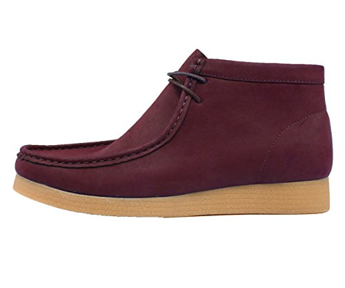 Burgundy Crepe Low Leather Faux Rubber up Boots Suede Lace suede Like Casual hightop Sole High Amali Top Men's pZqBxR