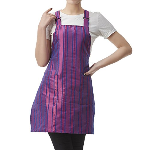 Colorfulife Professional Salon Apron Hair Stylist Hairdressing Dyeing Wrap Cape,Stripe Adjustable Barber Aprons with 2 Pockets T030 (Stripe Chefs Apron)