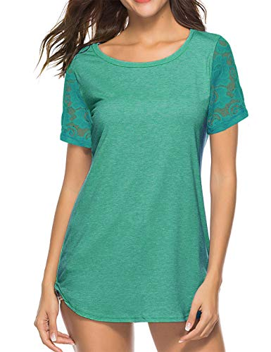 Koitmy Women's Lace Short Sleeve Round Neck T-Shirt Casual Blouse Tunics Tops Light ()