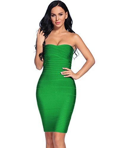 iFashion Women's Sexy Strapless Rayon Bodycon Party Bandage Mini Dress Medium Dark - Green Medium Dark Hard