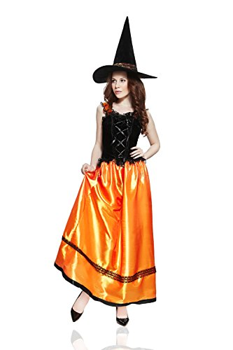 Halloween Costumes Ideas With Tutus (Adult Women Gothic Witch Halloween Costume Mysterious Lady Dress Up & Role Play (One size fits most, black, orange))