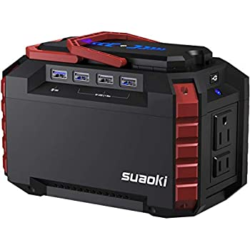 SUAOKI Portable Power Station, 150Wh Camping Generator Lithium Power Supply with Dual 110V AC Outlet, 4 DC Ports, 4 USB Ports, LED Flashlights for Road Trip ...