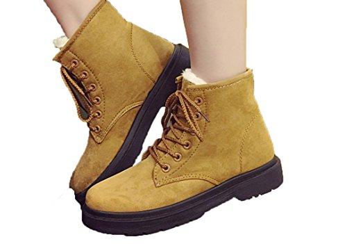 YCMDM Snow Boots inverno Martin Stivali Donne più velluto scarpe caldo cotone impermeabile grigio beige nero Brown 39 36 35 38 40 37 , brown , 35