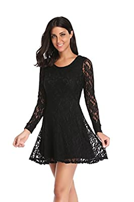Argstar Women's Long Sleeves Cocktail Party Sheer Skater Lace Dress