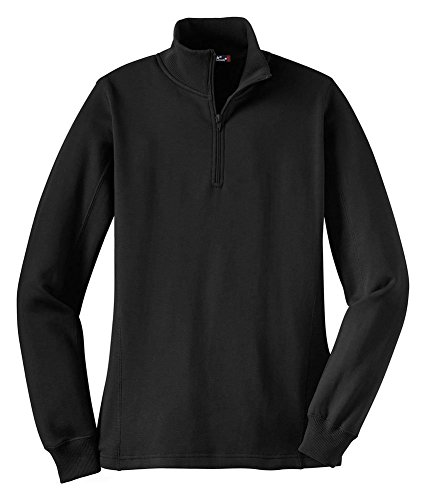 (Sport-Tek Women's Sporttek 1/4 Zip Sweatshirt,Medium,Black)
