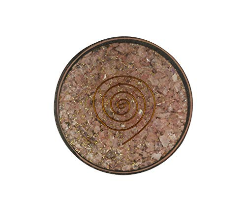 ter - Rose Quartz 3.5 inch Coaster Orgone Healing Round Reiki Feng Shui Metaphysical Gemstone Luck Aura Spiritual Wellness Power ()