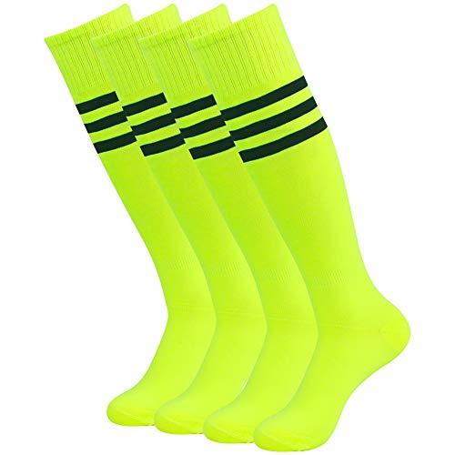 Football Team Socks, Three Street Mens Traditional Three-Striped Pattern Sport Athletic Soccer Rugby Hockey Dress Tube Socks Neon Yellow 4 Pairs -