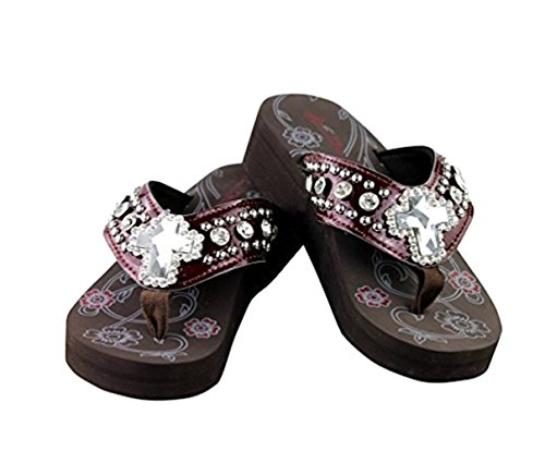 New Western Rhinestone Concho - Montana West NEW Womens Rhinestone Concho Flip Flop Bling Sandals, Boots, Shoes and Purses - Texas Pride Collection, Western and more.... (7 B(M) US, CrossBling/Burgundy)