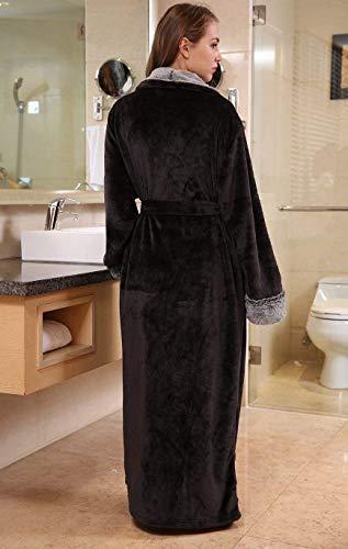 Schwarz Batas Ocasional V Pijama Kimono Espesar Elegantes cuello Cinturón Otoño Pareja Con Bolsillos Pijamas Larga Camisones Unisex Mujer Manga Hombre Invierno Fashionista 41frw4
