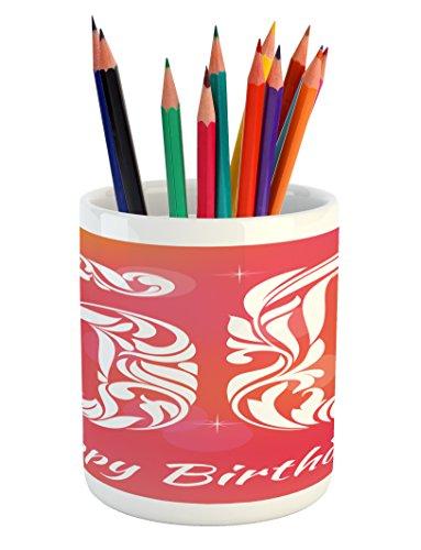 Ambesonne 50th Birthday Pencil Pen Holder, Vibrant Backdrop