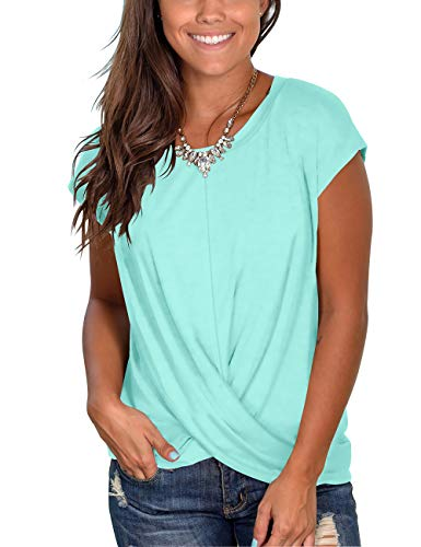 Women's Round Neck Short Sleeve T Shirts Twist Front Casual Summer Tops
