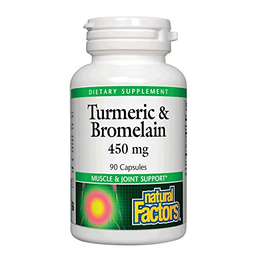 Natural Factors, Turmeric & Bromelain 450 mg, Muscle and Joint Support, 90 Capsules